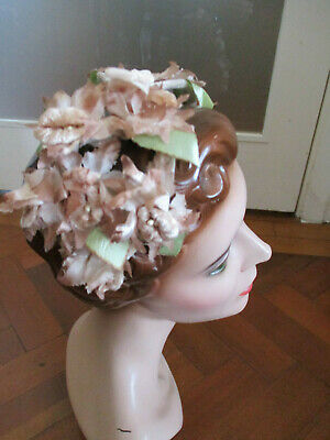 VINTAGE FRENCH 50s FLORAL HAT BAND