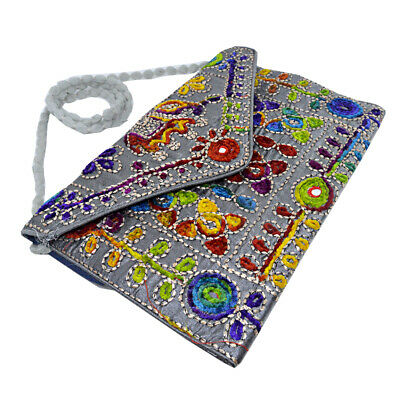 Indian Ethnic Handcraft Fabric Embroidery Clutch Shoulder Bag Purse Party Gift