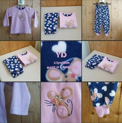 *Used* Lovely Little Girls Fleecey Pj Set ♡YD♡ 2-3 Years~Pink & Blue~Mouse Print