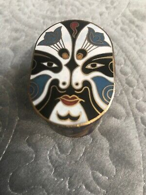 Cloisonne Enamaled Face Trinket Pill Box