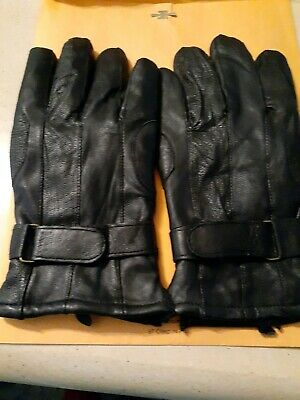 Unisex  black leather gloves size large gloves  is very warm for cold  weather