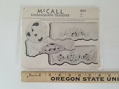 """1940's Vintage McCall Kaumagraph Embroidery Transfer 1024 Cutwork Designs 21"""""""
