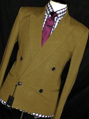 Bnwt Mens Paul Smith  The Mainline London Olive Green Db Slim Fit Suit 38R W32