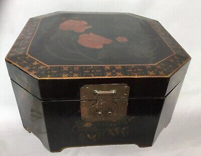 Vintage Asian Black Lacquered Document Box Floral Design Brass hinges