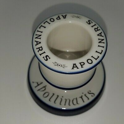 Vintage Mint French Apollinaris Ceramic Match Holder Striker Unused Blue White