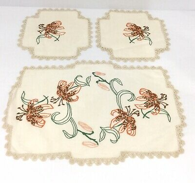 Vintage Hand Embroidered Doilies 3 Piece Duchess Set - Floral Lily Design Doily