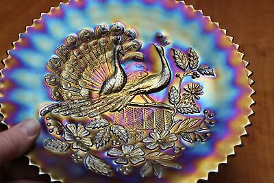 "Antique Northwood Carnival Glass Purple Peacocks on the Fence 9"" Pie Crust Edge"