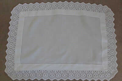 Vintage small white table topper/cloth with crocheted edges.