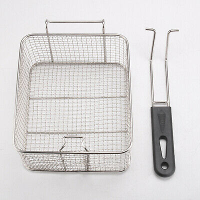 Stainless Steel Deep Fry Basket Square Wire Mesh Fruit Strainer with Long Handle