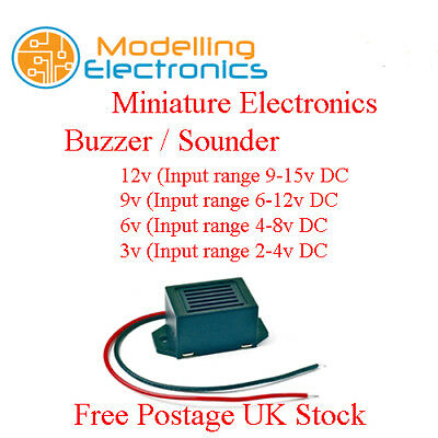 Miniature Electronic Buzzer / Sounder 2v to 15v  with Flying Leads