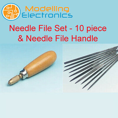 Needle File Set - 10 piece & Needle File Handle - Turned hardwood handle