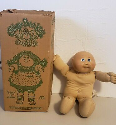 Vintage Coleco Cabbage Patch Kids Doll Blue Eyes Bald Xavier Roberts 1985 in Box