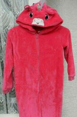3078. Debenhams Blue Zoo Age 9/10 Yrs - Pink Unicorn Pyjamas / Fleece All In One