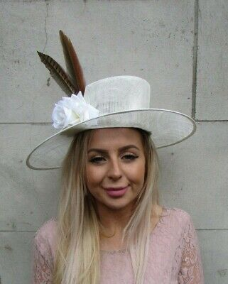 Cream Large Hat Brown Pheasant Feather Races Fascinator Sinamay Flower Ascot a6