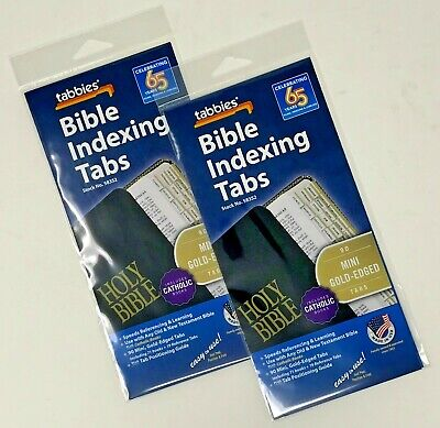 Tabbies Mini Gold-Edged Bible Indexing Tabs Catholic Version 90 Tabs 2 Pack