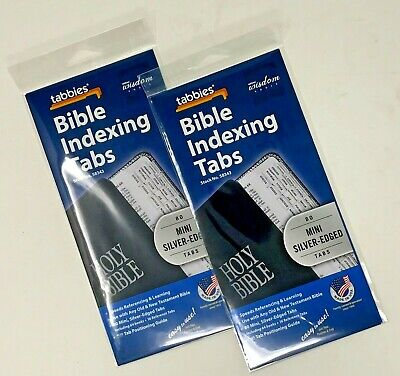 Tabbies Mini Silver-Edged Bible Indexing Tabs Old & New Testament 80 Tabs 2 Pack