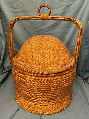 Vintage Asian Chinese Wedding Rattan Bamboo Basket w/Lid 17 x 12""