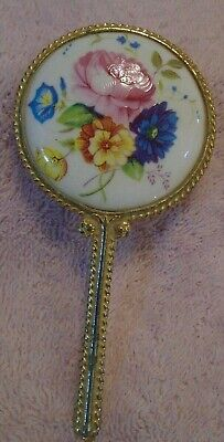 Vintage Hand Mirror Ornate Vanity Hand Painted Flowers on White Milk Glass