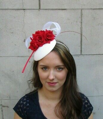 White & Red Rose Flower Floral Feather Hat Hair Fascinator Wedding Races 0077