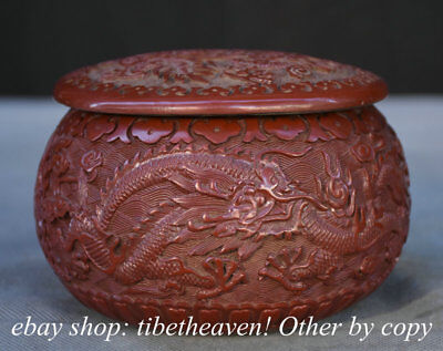"""5.2"""" Marked Old Chinese Red Lacquerware Dynasty Dragon Weiqithe Game of Go Box"""