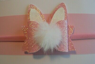 Newborn/Baby/Toddler/Girl Nylon Headband With Pink/ White Easter Bunny Ear Bow