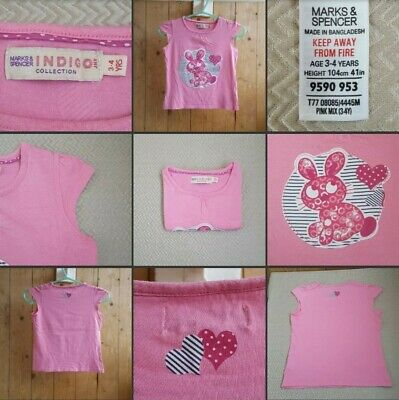 *Used* Lovely Little Girls Pink T Shirt Top ♡M&S♡ Indigo~Age 3-4 Years~Bunny Pic