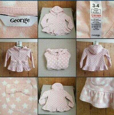 *Used* Lovely Little Girls Pink Star Fleece Jumper ♡GEORGE♡ Age 3-4 Years~Casual