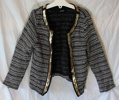 Girls George Black White Fleck Sequin Trim Open Cardigan Jacket Age 5-6 Years