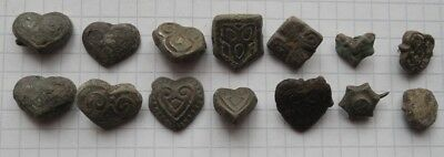 VIKING Period 14 Bronze patches/ overlays with blackening and gilding remains