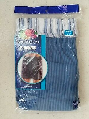 Vintage NEW Fruit Of The Loom LARGE Stripes Boxer Shorts 2 Pair 2004