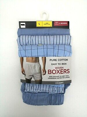 Mens 3 Pack Cotton Boxers Button Fly Fastening Stripes Check NEW Ex M&S RRP £18