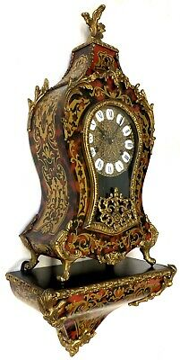 Vintage Red Shell And Inlaid Brass French Style Boulle Clock And Bracket Ormolu