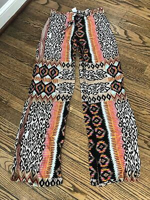 L*Space Antigua Wide Leg Coverup Mixed Print Pants Size Small