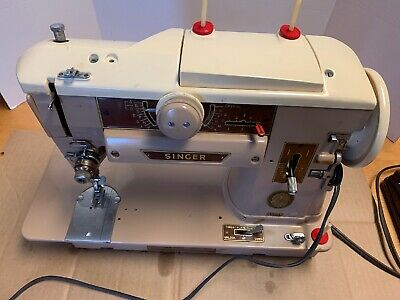For parts Vintage Singer 401A Slant O Matic Sewing Machine, w/Extras,