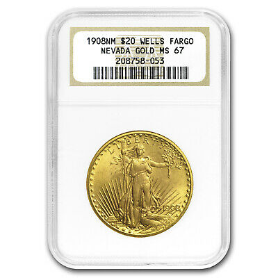 1908 $20 Saint-Gaudens Gold No Motto MS-67 NGC (Wells Fargo) - SKU#64861