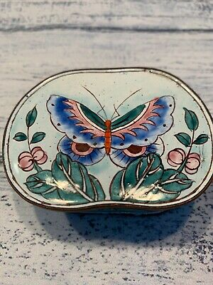 Trinket Box Butterfly Flowers Enamel Porcelain Copper Made In China Antique
