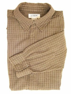 J.Crew Shirt Mens Large Brown Plaid Cotton Long Sleeve Button Down