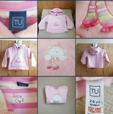 *Tiny Hole* Lovely Little Girls Pale Pink Fleece Hoody ♡TU♡ Age 2-3 Years~Jumper