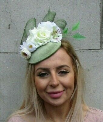 Sage Moss Olive Green White Cream Ivory Flower Feather Hat Fascinator Races 0090