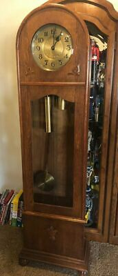 Antique German Grandfather Clock - Marked Amuf - Beautiful Art Deco Condition
