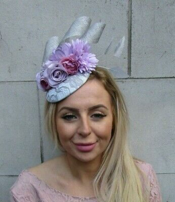 Silver Grey Mauve Lilac Purple Lavender Flower Feather Hat Fascinator Races 0092