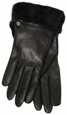 NWT Women's UGG Black Leather w/ Cashmere Lining Fashion Shearling Shorty Gloves