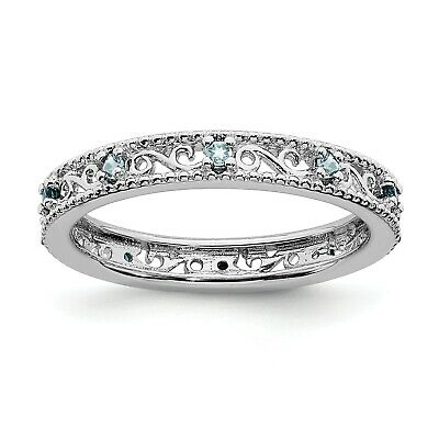 Sterling Silver W/ Rhodium-plated Stackable Expressions Aquamarine Ring (3mm)