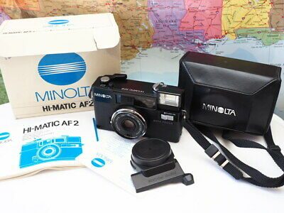 Minolta Hi-Matic AF2 35mm Film Camera W/ Original Box & Manual WORKS TESTED
