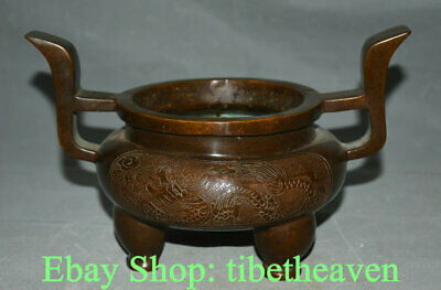 "10.2"" Marked Old Chinese Red Copper Dynasty Palace Dragon Incense Burners Censer"