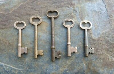 Five  Antique Bronze Mortise Lock Sleleton Keys  Antique Door Keys