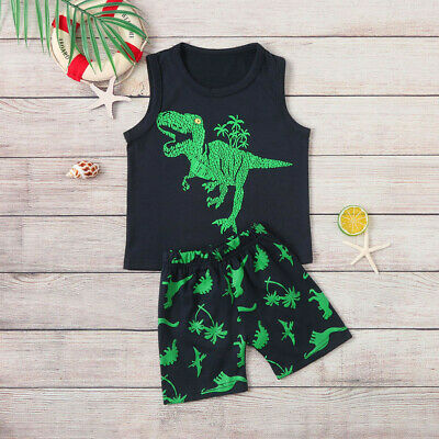 Kids Toddler Children Boys Baby Summer Dinosaur Vest+Shorts Outfit Set Clothes