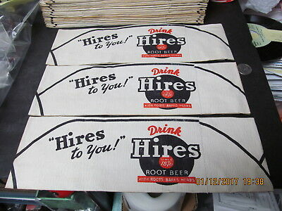 HIRES ROOT BEER SODA JERK PAPER ADVERTISING HATS SET OF 3- 1950's NEW OLD STOCK