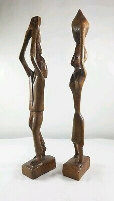 PAIR (2) Wooden Hand Carved Woman & Man Carrying Bowl Playing Horn Primitive