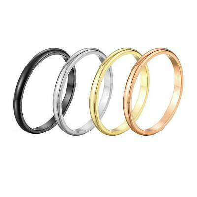 2mm Thin Stackable Ring Stainless Steel Plain Band for Women Girl Size 6-9 1PC